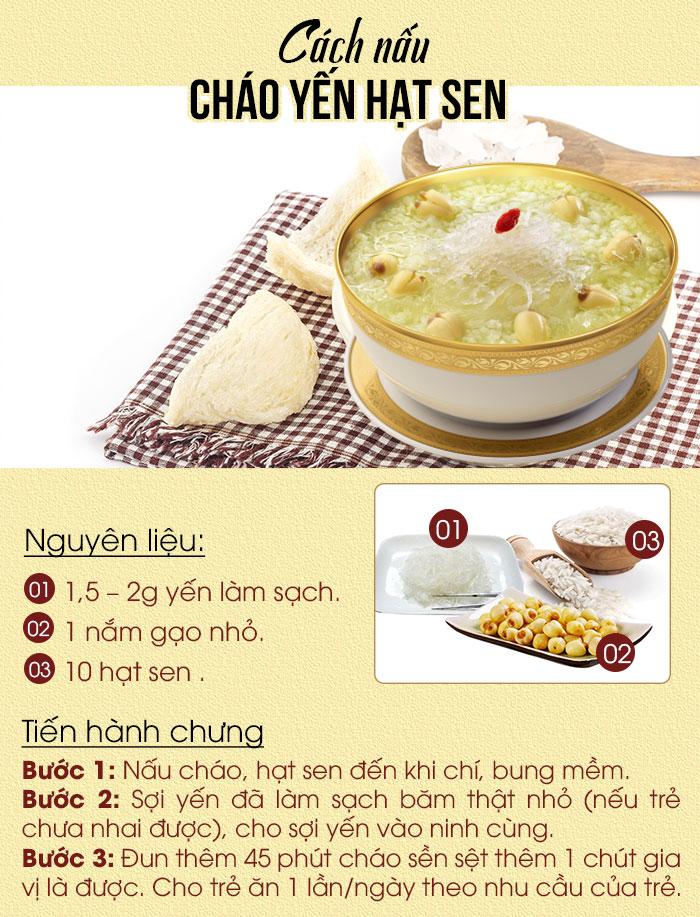 Đĩa nguyên liệu: Sợi yến + gạo+ hạt sen