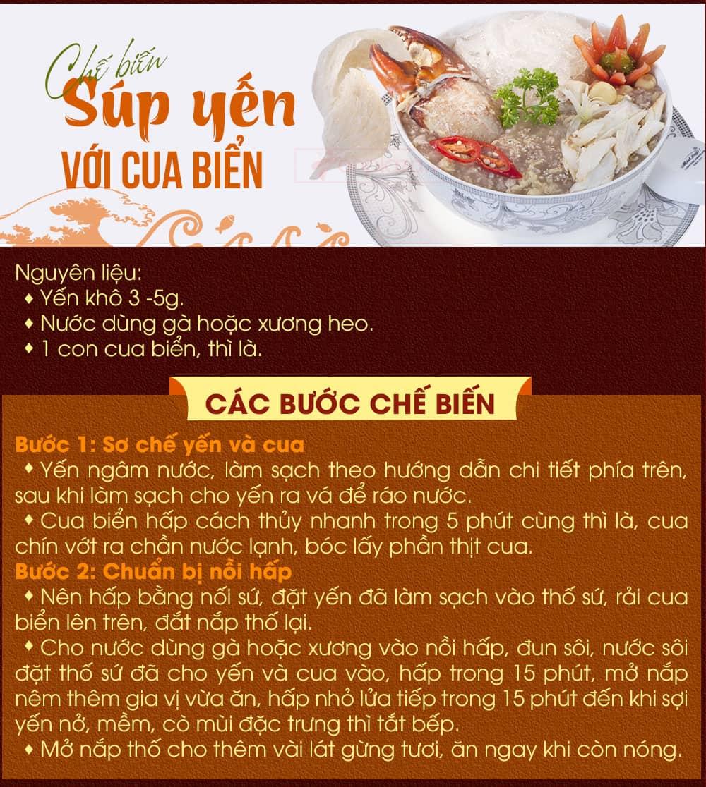 Chế biến súp yến với cua biển