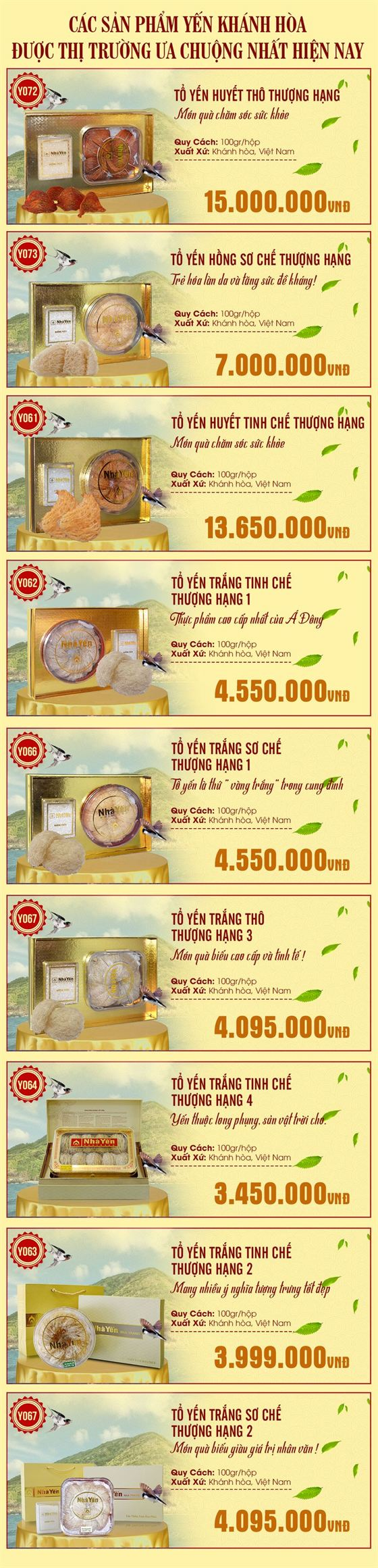 bảng giá yến khánh hòa tại onplaza