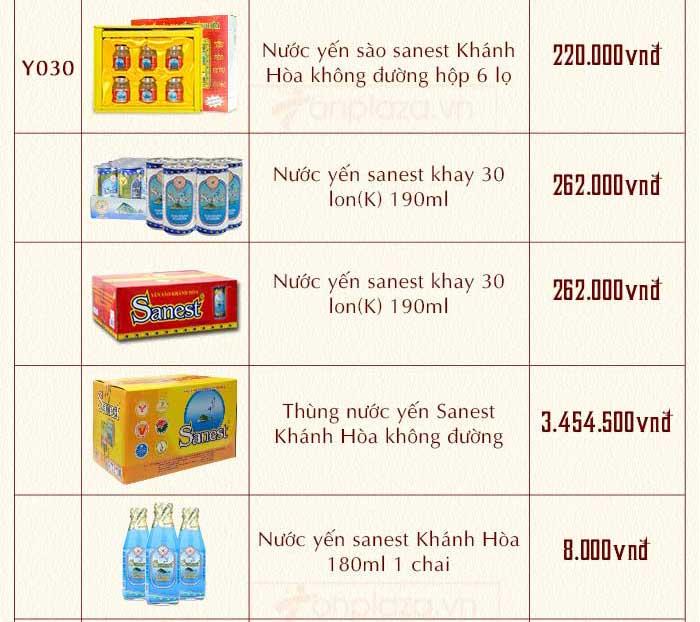 bảng giá các sp nước yến có sức hút cao nhất hiện nay 3
